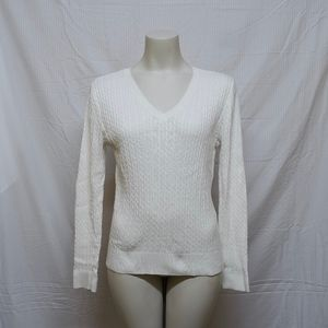 Jeanne Pierre White V-neck Cable Knit Sweater